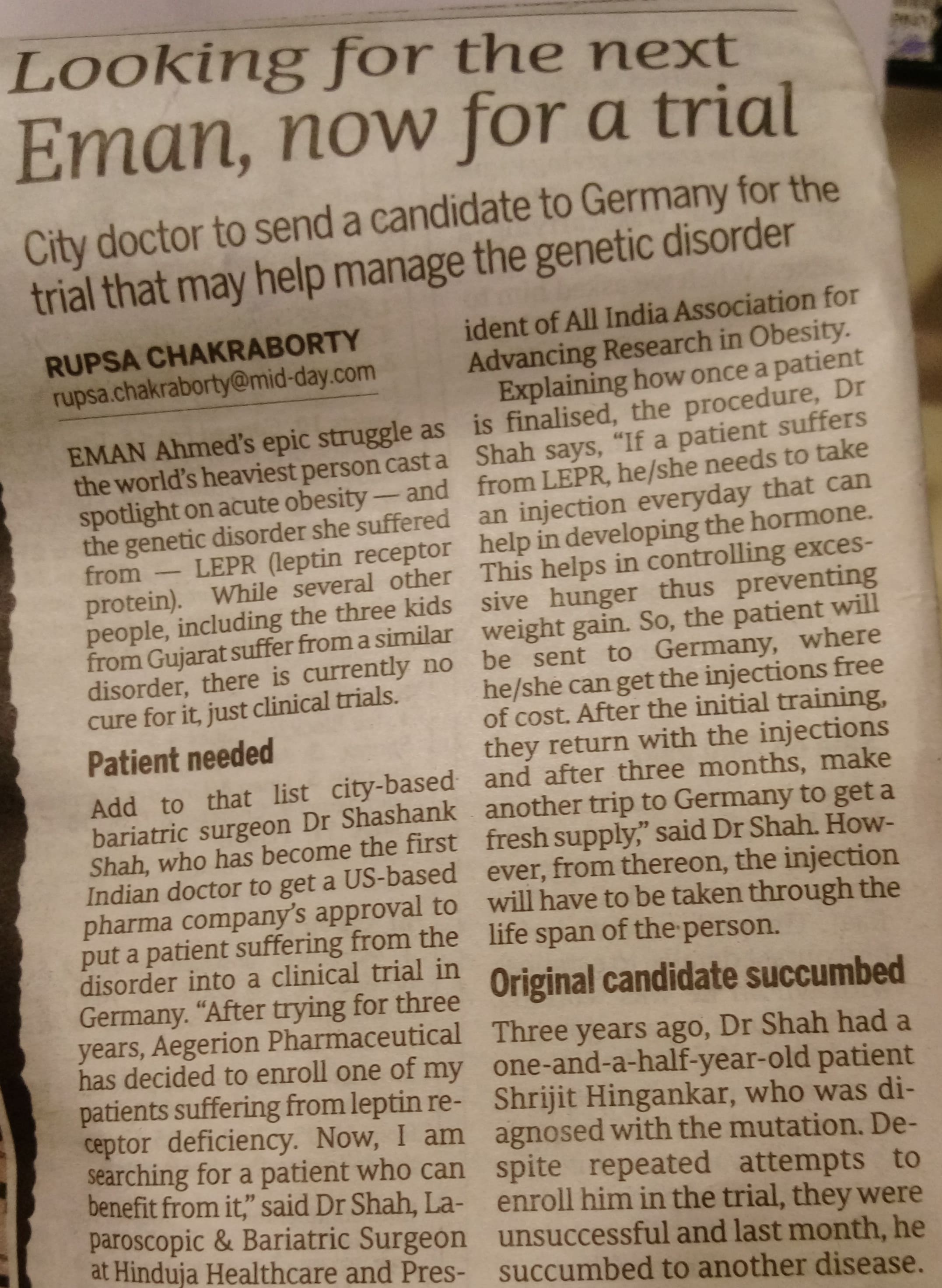 City doctor send a candidate to Germany for a genetic disorder - Hinduja Healthcare