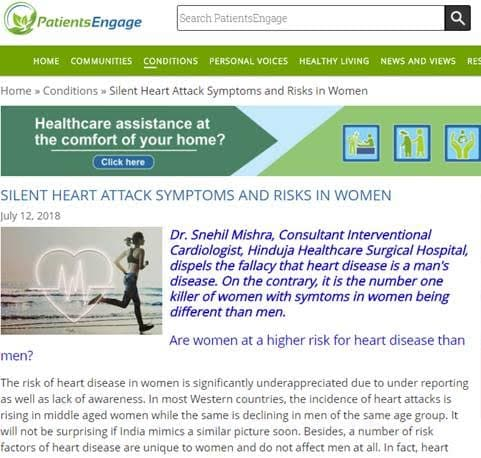 Heart attack symptoms and risk in women - Hinduja Healthcare